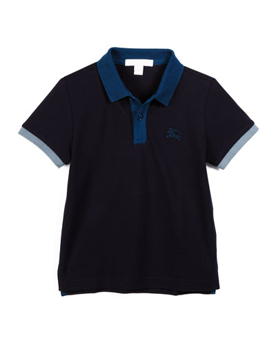 Leigham Contrast-Trim Cotton Polo Shirt, True Navy, Size 4-14