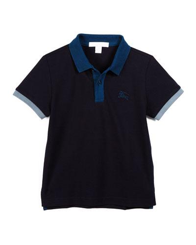 Leigham Contrast-Trim Cotton Polo Shirt, True Navy, Size 4-14