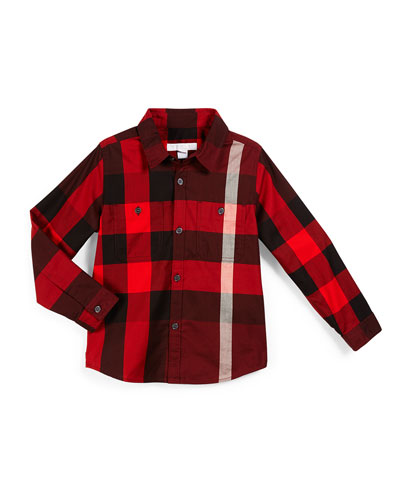 Mini Camber Check Shirt, Oxblood, Size 4-14