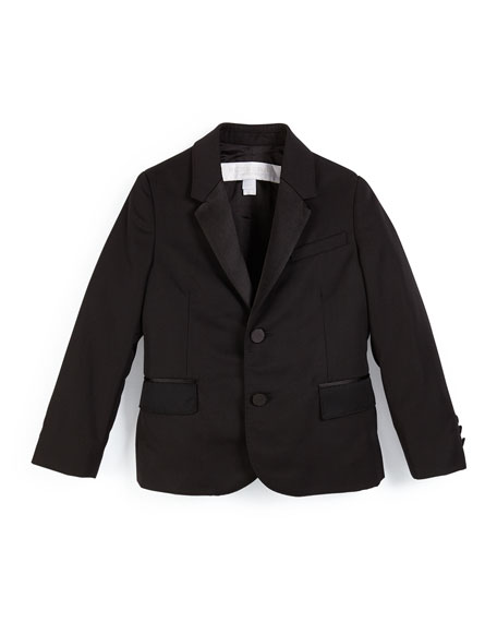 Wool Two-Button Tuxedo Jacket, Black, Size 4-14