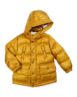 Barnie Hooded Down Puffer Coat, Yellow Citrine, Size 4-14
