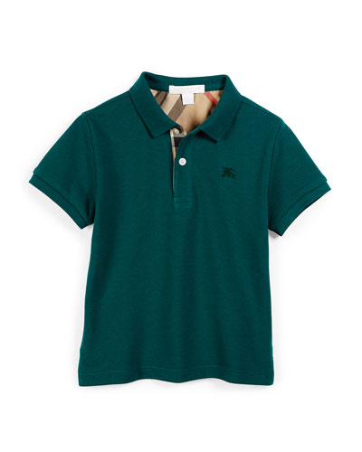 Short-Sleeve Cotton Polo Shirt, Mineral Green, Size 4-14