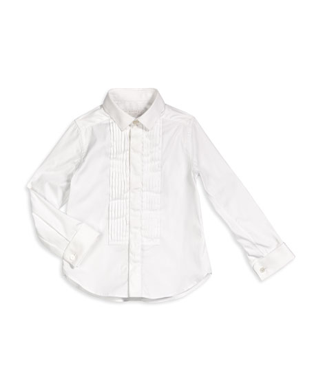 Burberry Cotton Tuxedo Shirt, White, Size 4-14