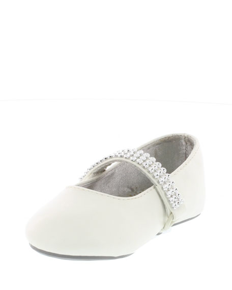 Stuart Weitzman Faux-Leather Rhinestone-Trim Mary Jane, White,