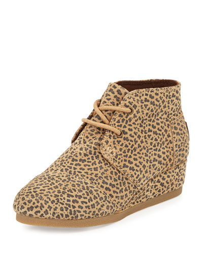 Suede Cheetah-Print Wedge, Tan, Youth
