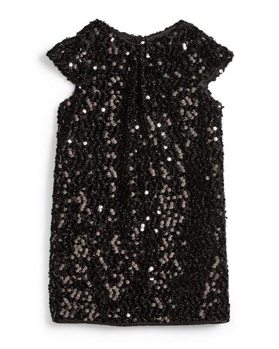 Sequin Cap-Sleeve Shift Dress, Black, Size 8-14