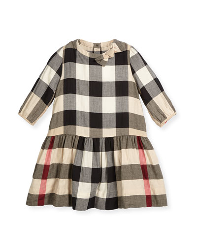 Haidee Check A-Line Dress, Tan, Sizes 4-14