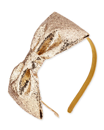 girls' glittered large bow headband, gold