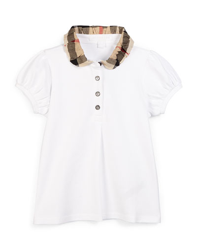 Check-Collar Pique Polo Shirt, White, Size 4-14