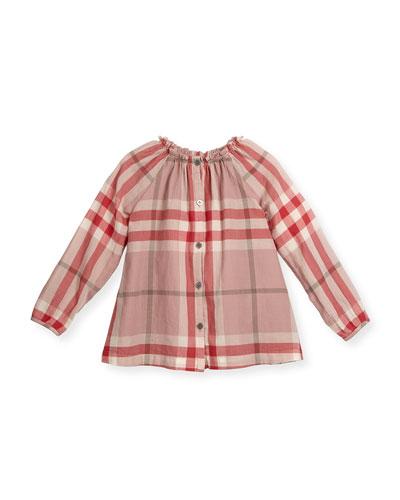 Kamila Check Poplin Blouse, Pink, Size 4-14