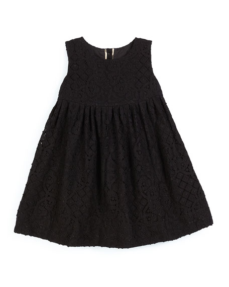 Burberry Baleena Sleeveless Smocked Lace Dress, Black, Size