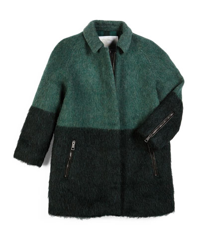 Colene Felt Colorblock Coat, Green, Size 4-14