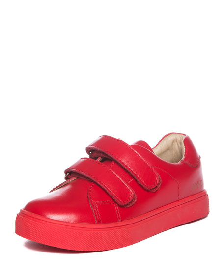 AKID Axel Leather Low-Top Sneaker, Red, Toddler/Youth