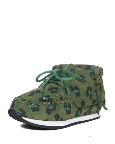 Leopard-Print Mid-Top Sneaker, Green, Toddler/Youth