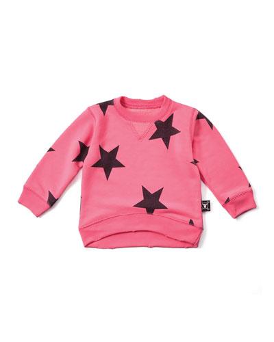Star-Print Pullover Sweatshirt, Neon Pink, Size 18M-5