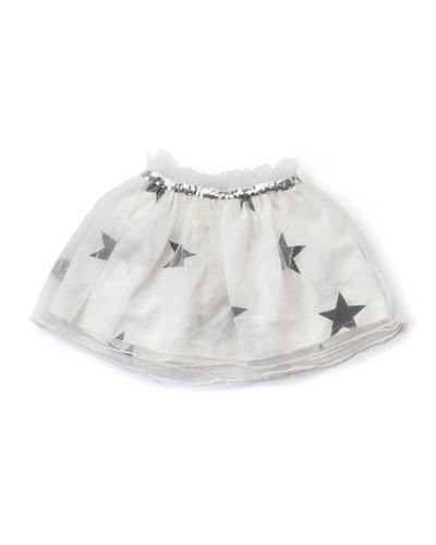 Sequin-Trim Tulle Star-Print Skirt, White, Size 18M-5