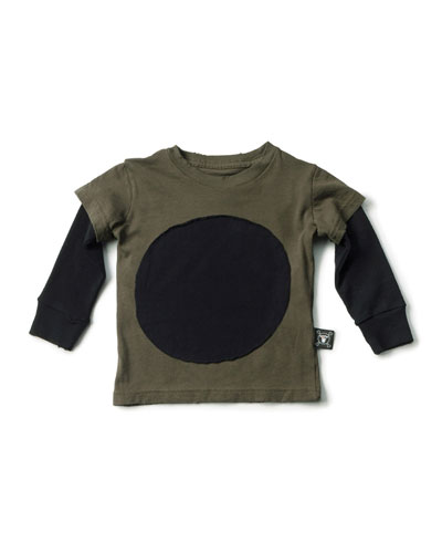 Layered-Illusion Slub-Jersey Tee, Olive, Size 18M-5