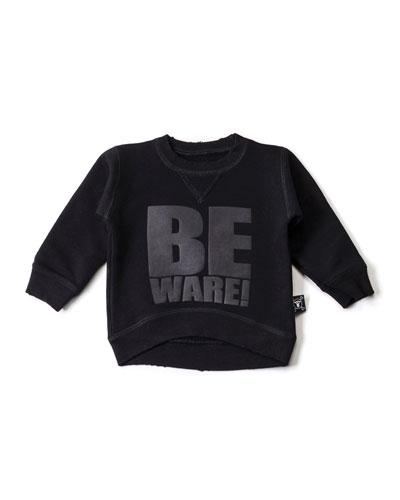 Beware Crewneck Sweatshirt, Black, Size 18M-5