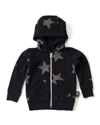 Star-Print Zip-Front Hooded Sweatshirt, Black, Size 18M-5