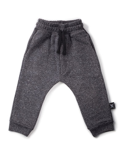 Slub-Knit Drawstring Sweatpants, Charcoal, Size 18M-5