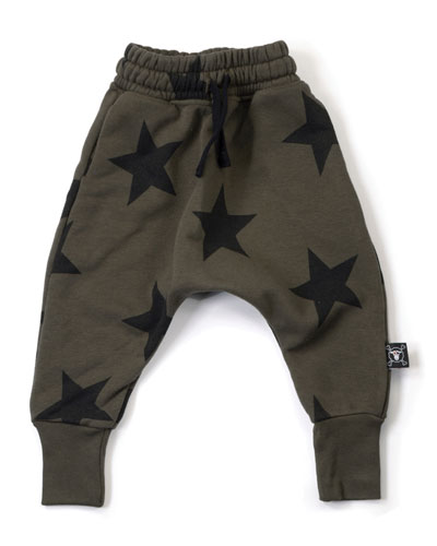 Star-Print Sweatpants, Olive, Size 18M-5
