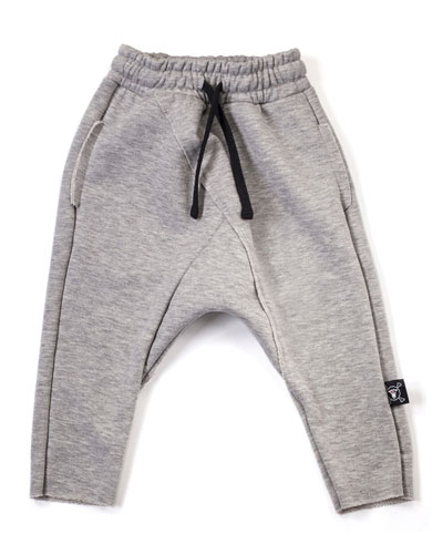 Raw-Edge Drawstring Sweatpants, Heather Gray, Size 18M-5