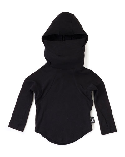 Long-Sleeve Hooded Cotton Ninja Shirt, Black, Size 2-5
