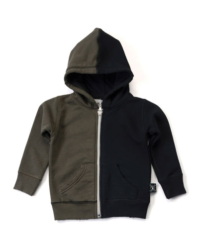 Hooded Colorblock Zip-Front Sweatshirt, Black/Olive, Size 2-5