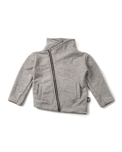 Terry-Lined Asymmetric Motorcycle Jacket, Heather Gray, Size 2-5