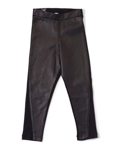 Leather Ponte-Trim Leggings, Black, Size 3-5