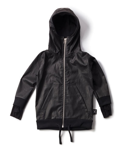 Hooded Coated-Cotton Jacket, Black, Size 3-5