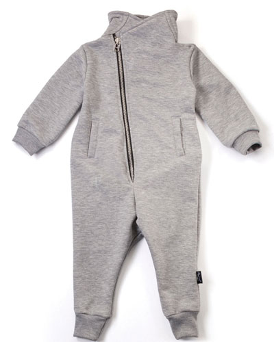 Moto-Style Zip-Front Coverall, Heather Gray, Size 6-24 Months