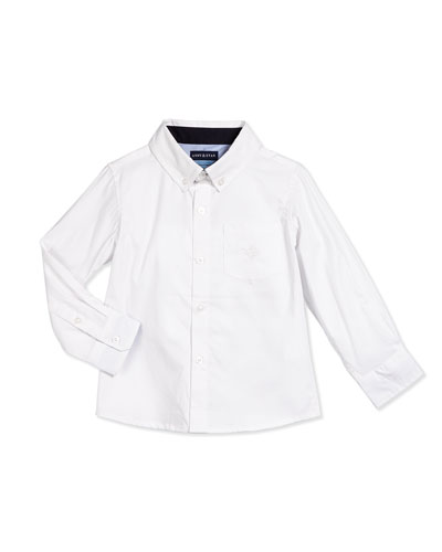 Long-Sleeve Cotton Oxford Shirt, White, Size 2T-7Y