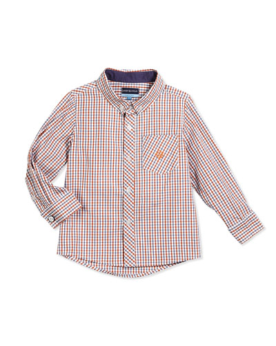 Long-Sleeve Cotton Check Shirt, Orange, Size 2T-7Y