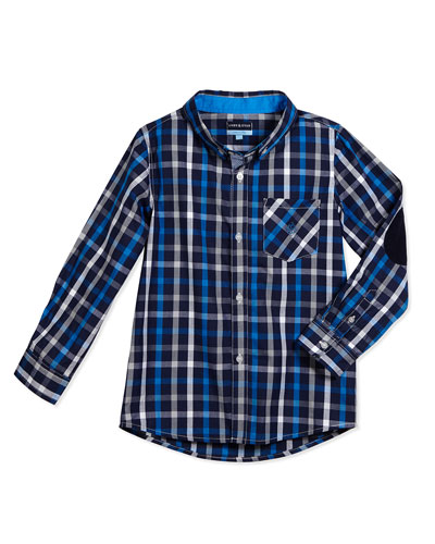 Long-Sleeve Cotton Plaid Shirt, Blue, Size 2T-7Y