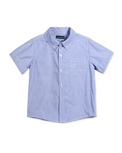 Short-Sleeve Cotton Chambray Shirt, Blue, Size 2T-7Y
