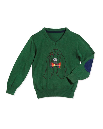 Cotton Hound V-Neck Pullover Sweater, Green, Size 2T-7Y
