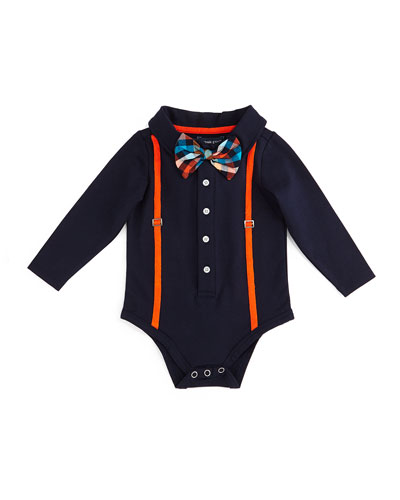 Long-Sleeve Illusion Shirtzie™ w/ Bow Tie, Navy, Size 3-18 Months