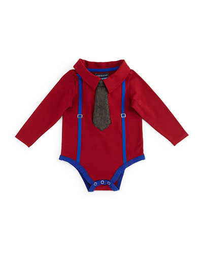 Long-Sleeve Collared Illusion Shirtzie™, Red, Size 3-18 Months