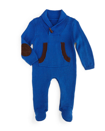 Knit Toggle-Front Footie Pajamas, Blue, Size 3-18 Months