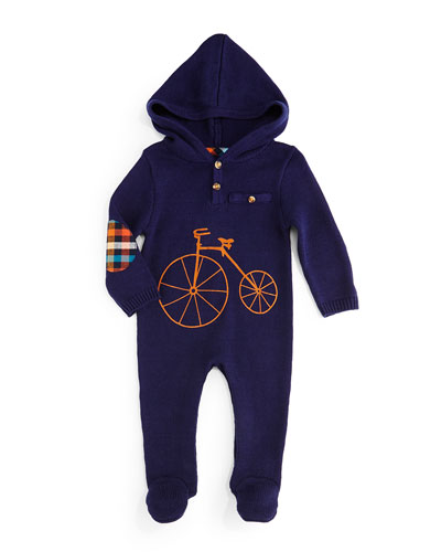 Hooded Bicycle Footie, Navy, Size 3-18 Months