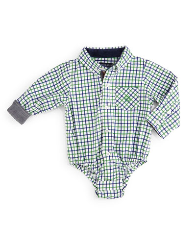 Long-Sleeve Check Cotton Shirtzie™, Green/Blue, Size 6-24 Months