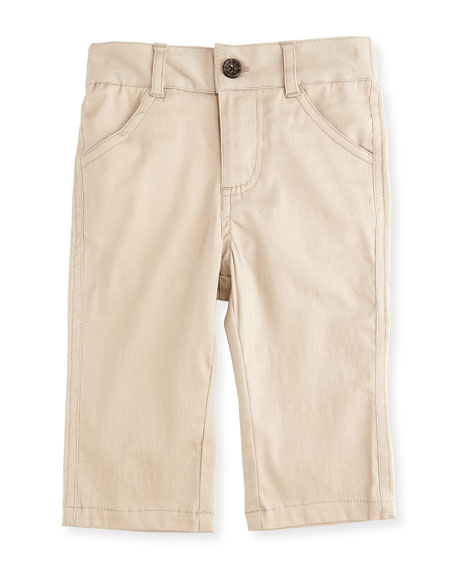 Andy & Evan Twill Straight-Leg Pants, Khaki, Size