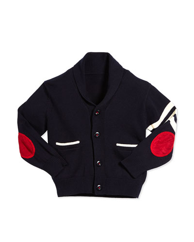 Cotton Varsity Cardigan, Navy, Size 6-24 Months
