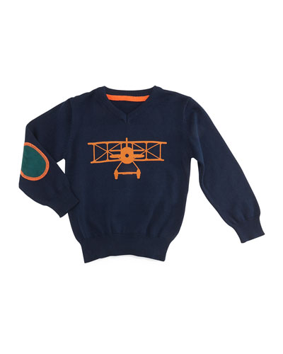 Long-Sleeve Airplane Pullover Sweater, Navy, Size 6-24 Months