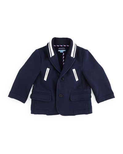 Striped-Trim Varsity Blazer, Navy, Size 6-24 Months