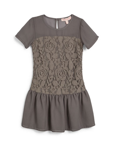 Mary Chiffon & Lace Combo Dress, Gray, Size 7-14
