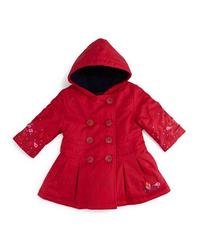 Hooded Fleece-Lined Trenchcoat, Fuchsia, Size 3-6