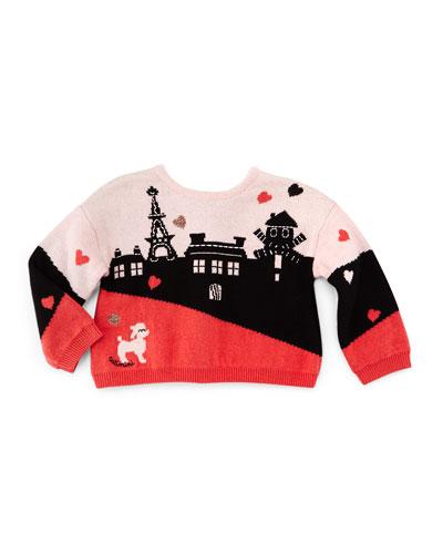 Long-Sleeve Paris Intarsia-Knit Sweater, Pink/Black, Size 3-6