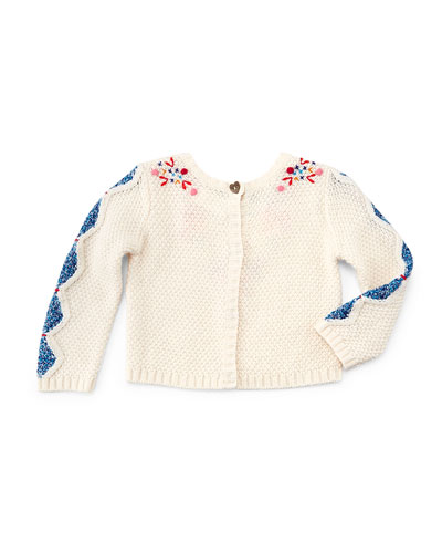 Long-Sleeve Embroidered Crotchet Sweater, Ivory, Size 3-6